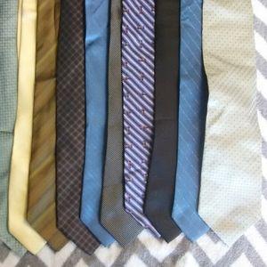 Calvin Klein 10 Tie Lot 100% silk